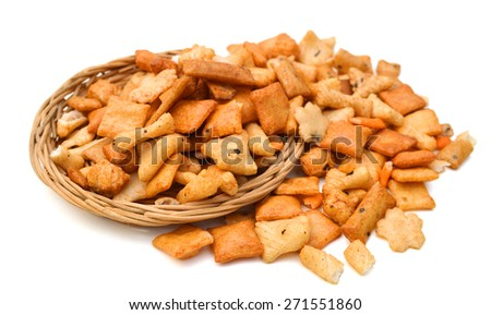 collection of snack on white background  - stock photo