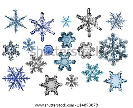 collection of snowflakes happy new year, natural Christmas snowflakes, Christmas stars, isolated on white background for design - stock photo