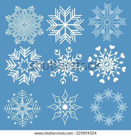 Collection of snowflakes (set of snowflakes) illustration