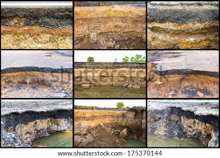 Collection of soil under the asphalt road collapsed from water erosion  - stock photo
