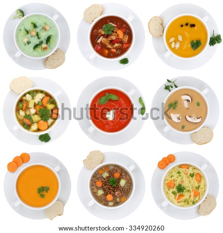 Collection of soups soup in cup tomato vegetable noodle isolated on a white background from above - stock photo
