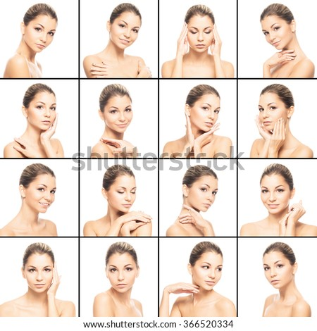 Collection of spa photos of beautiful, young woman with smooth skin over isolated background.