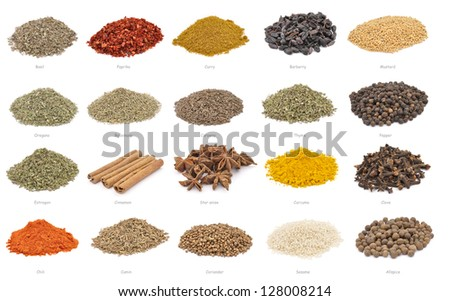 Collection of spices - piles isolated on white - stock photo