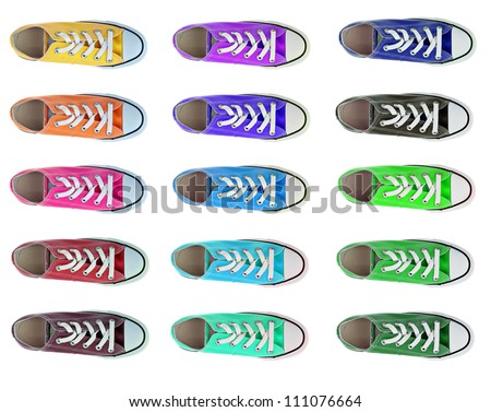 collection of sport shoes in different colors from above isolated - stock photo