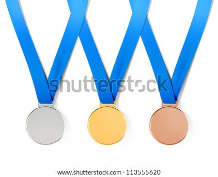 Collection of sports medals on white background with path - stock photo