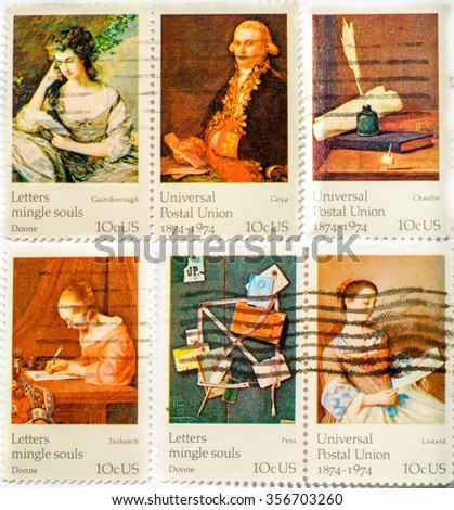 Collection of stamps printed in US in 1974 shows paintings ceries FAMOUS WORKS OF ART, the 100th anniversary of the Universal Postal Union - stock photo