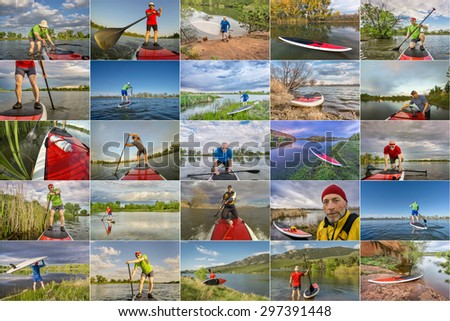 collection of stand up paddling pictures from lakes in Colorado featuring  the same 60 years old male model - stock photo