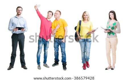 Collection of students with lecturer having fun on isolated background. - stock photo