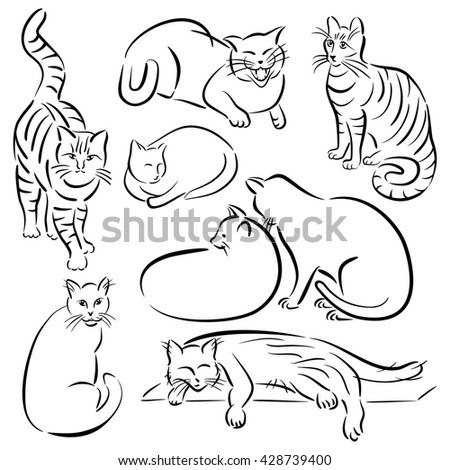 Collection #1 of stylized cats in various poses in a brush stroke style.