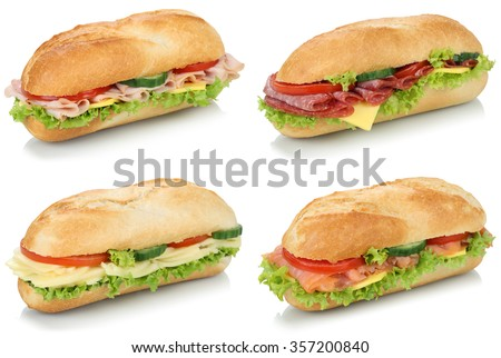 Collection of sub deli sandwiches baguettes with salami, ham and cheese isolated on a white background - stock photo