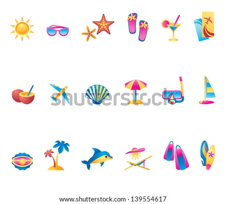 Collection of summer time icons