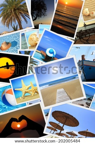 Collection of summer vacation photos  - stock photo