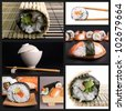 collection of sushi image - stock photo