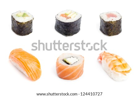 Collection of sushi rolls, isolated on white