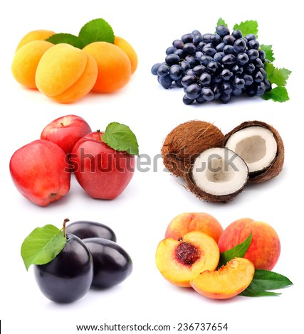 Collection of sweet fruits on white background .  - stock photo