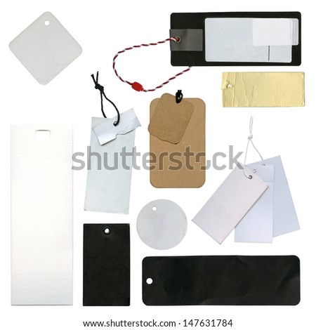 Collection of tags or label, isolated - stock photo