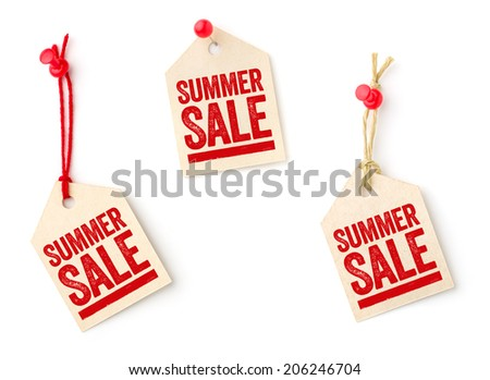 Collection of tags with the text Summer Sale