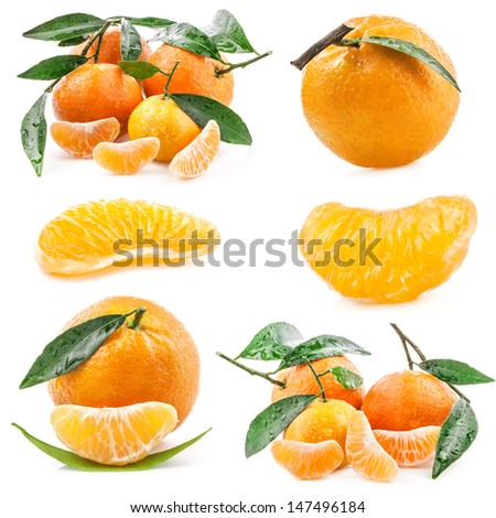 Collection of Tangerines with leaves and slices isolated on white background - stock photo