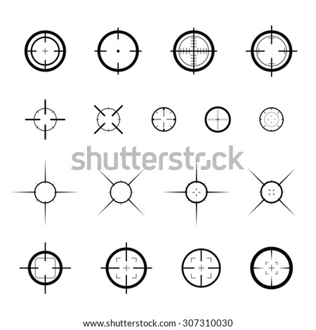 Collection of targets. Different crosshair icons. Aims templates. Shooting marks design.