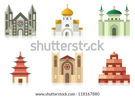 Collection of temples of world religions - stock photo