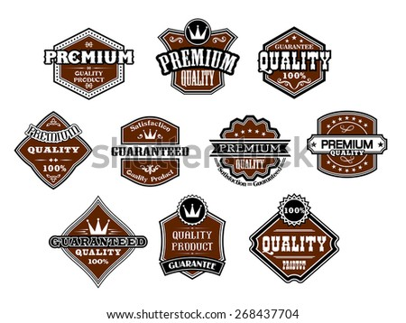 Collection of ten different designs for Premium and Quality labels guaranteeing only the best products with various banners and text in black and brown on white - stock photo