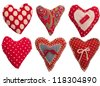 collection of textile red hearts - stock photo
