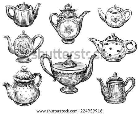 collection of the teapots - stock photo