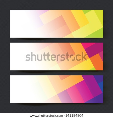 Collection of three colorful banner designs. Raster version, vector file available in my portfolio. - stock photo