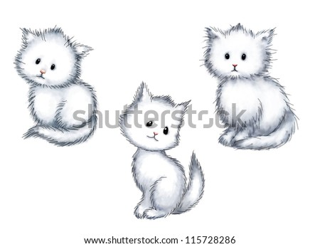 collection of three cute kittens on white background