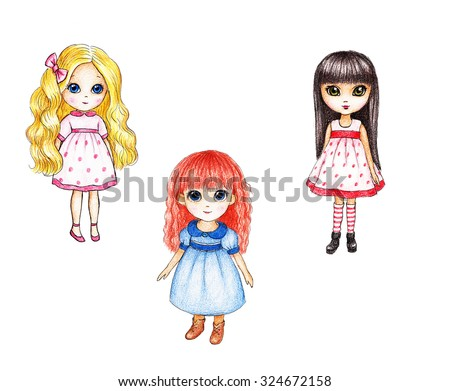 Collection of three drawings of dolls on white background