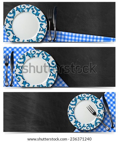 Collection of three kitchen banners with empty decorated plate, silver cutlery, blue and white checked tablecloth on empty blackboard. Isolated on white background - stock photo
