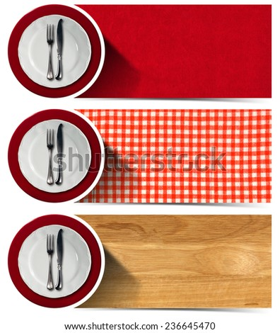 Collection of three kitchen banners with white and red empty plates, silver cutlery, checkered tablecloth, wooden background, red velvet background. Isolated on white background  - stock photo