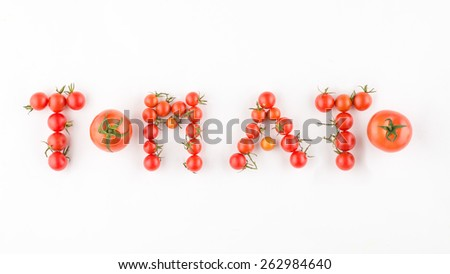 Collection of tomatoes with a light shadows, isolated on white, with clipping paths. Fresh tomatoes set isolated on white background - stock photo