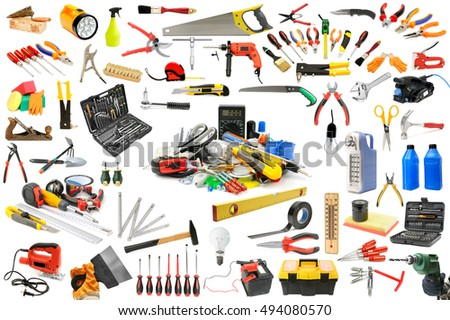 Collection of tools necessary for the repair and maintenance of the house. Isolated on white.
