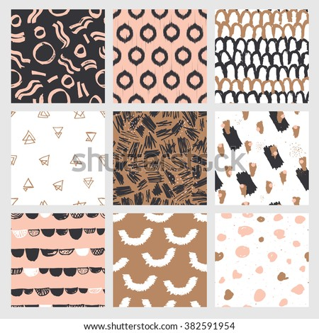 Collection of trendy and highly fashionable decorative seamless pattern designs. Surface patterns for all web and print purposes. Raster version