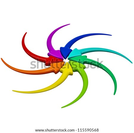 Collection of turning colour 3D arrows on white background - stock photo