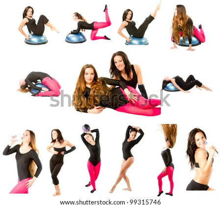 collection of  two fitness women make stretch on yoga and pilates pose on isolated white background
