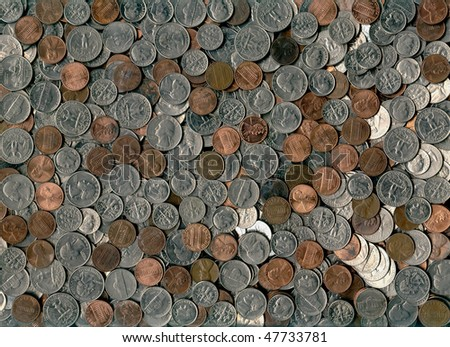 collection of us coins - stock photo