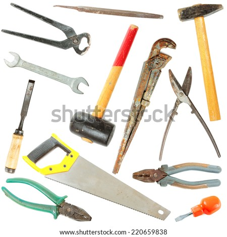 Collection of used tools isolated on white background - stock photo