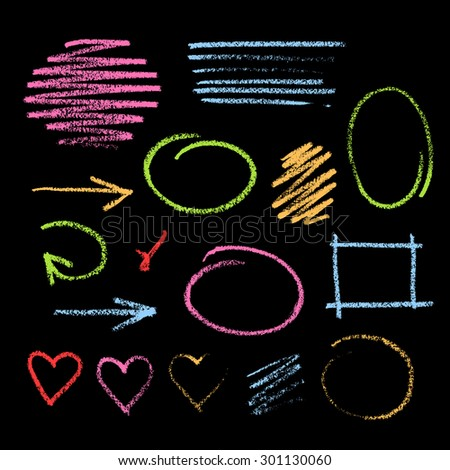 Collection of varicolored grunge graphic elements. Handdrawn colorful chalk sketch on a blackboard. Arrows, frames, strokes and hearts - stock photo