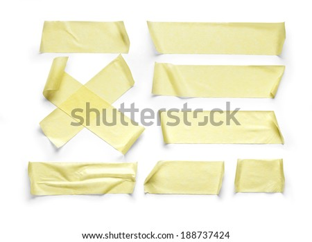 collection of various adhesive tape pieces on white background.with clipping path - stock photo