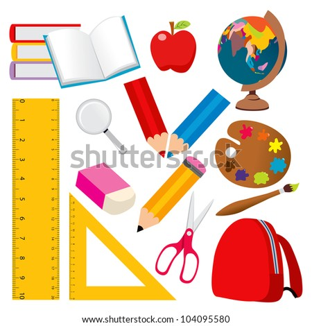 Collection of various back to school and student objects - stock photo