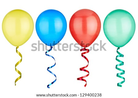 collection of  various balloons  on white background. each one is shot separately - stock photo