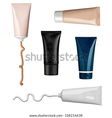 collection of various beauty cream and powder strokes and tubes on white background. each one is shot separately - stock photo