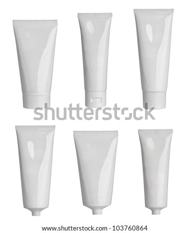 collection of  various beauty hygiene tubes on white background. each one is shot separately - stock photo