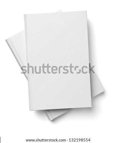 collection of various  blank white  books on white background with clipping path - stock photo