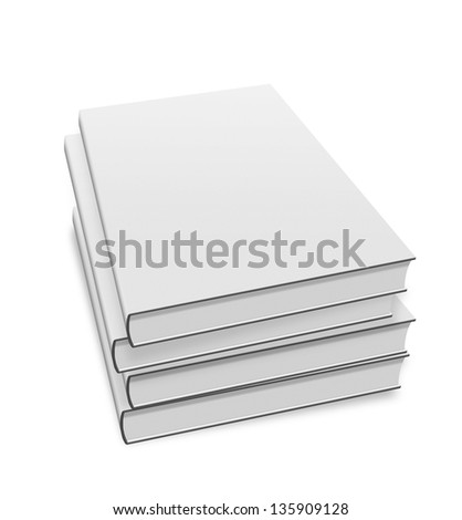 collection of various blank white books on white background with clipping path