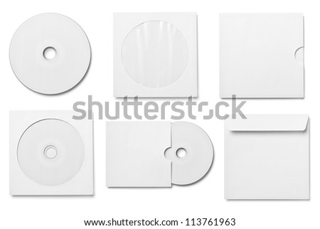 collection of various  blank white dvd and envelope on white background. each one is shot separately