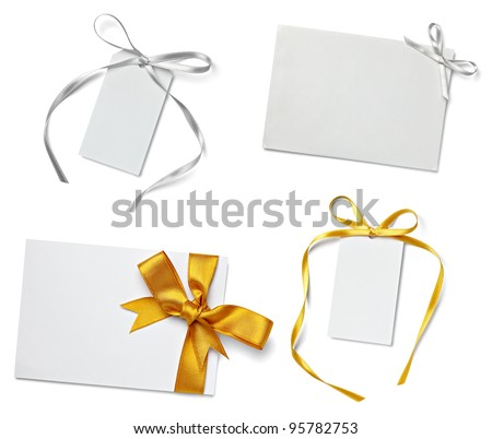 collection of  various card notes with ribbon on white background.each one is shot separately