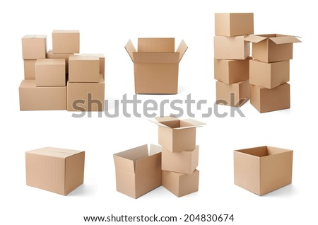 collection of various cardboard boxes on white background. each one is shot separately - stock photo